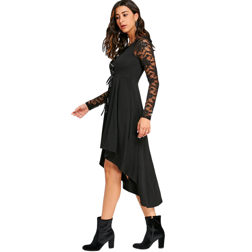 ... VESTLINDA Lace Up High Low Hem Dresses 2017 Winter Round Collar Long  Sleeves Gothic Women Black ... 82c2b84b3d70