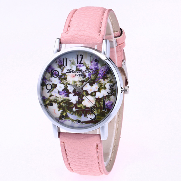 New Styles Fashion Women Watches Rose Flower PU Leather Wrist Watch Diamond Lady Watch Gift Set Women
