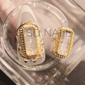 2019 luxury fashion zircon nail art crystal sand rectangle 3d nail charms  nail decorations
