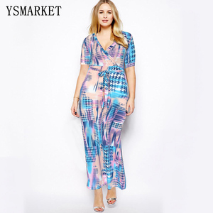 Big size women Multicolor Floral Print Split Beach Wear Belted Slim Maxi Dress Women Short Sleeve V Neck Long party dress S~5XL