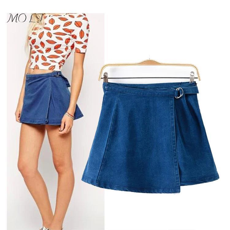 bdadff96b2 Get Quotations · 2015 new arrival spring / summer women fashion style  double-deck denim skirt casual A