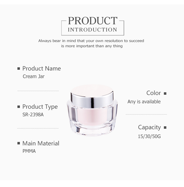 OEM Supplier double wall color customized face cream/hand cream acrylic cosmetic jar