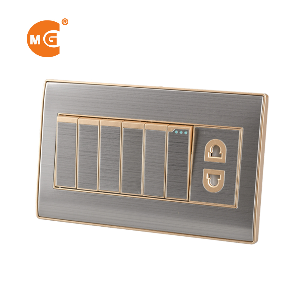 Online 6 gang electric switch with 16 amp 2 pin socket