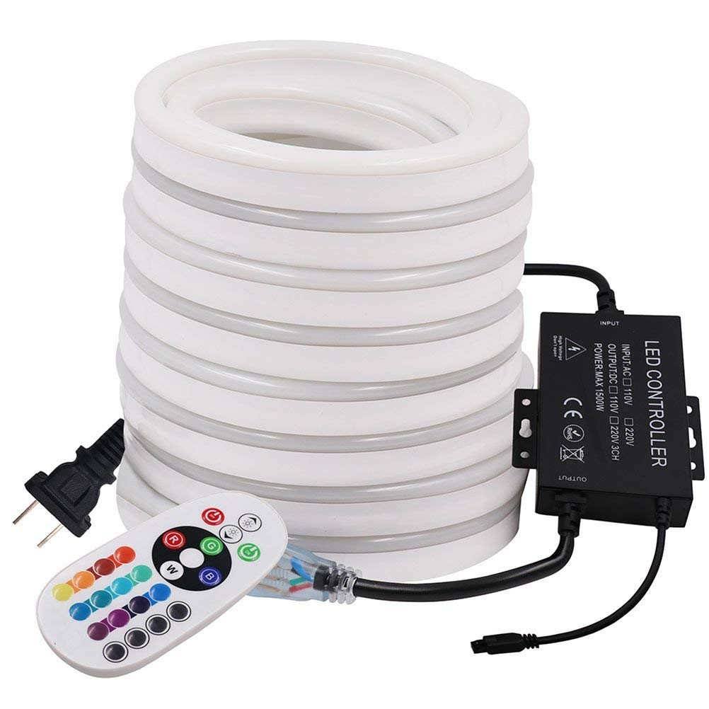 XUNATA 33ft LED Neon Lights, AC 110-120V 120 LEDs/M Flexible Dimmable Waterproof 2835 SMD LED Rope Strip Light with 1500W 24Key Remote Controller for Party Decoration