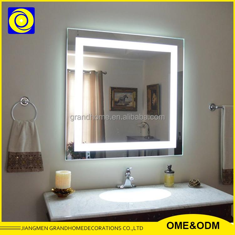 Square ba o led iluminado led espejo con luz espejo retroiluminado para hotel espejos de ba o - Espejo retroiluminado bano ...