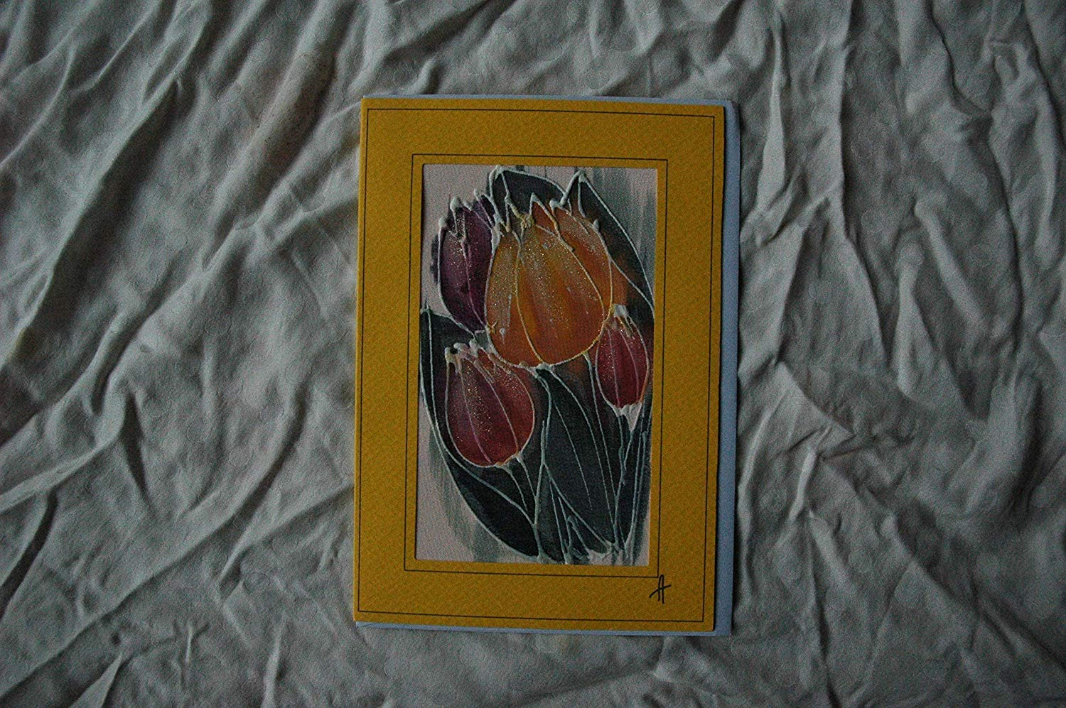 Sale!!!15% Off,Yellow Tulips Card, Silk Painting Greetings Card, Tulip Gift, Flower Card, Blank Card, Tulip Mother Day, Mom day, Happy Birthday card, Tulip Card.