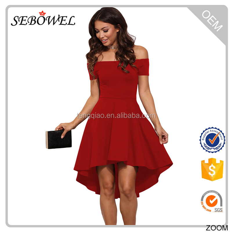 Young ladies party wear hot red full size off the shoulder dress