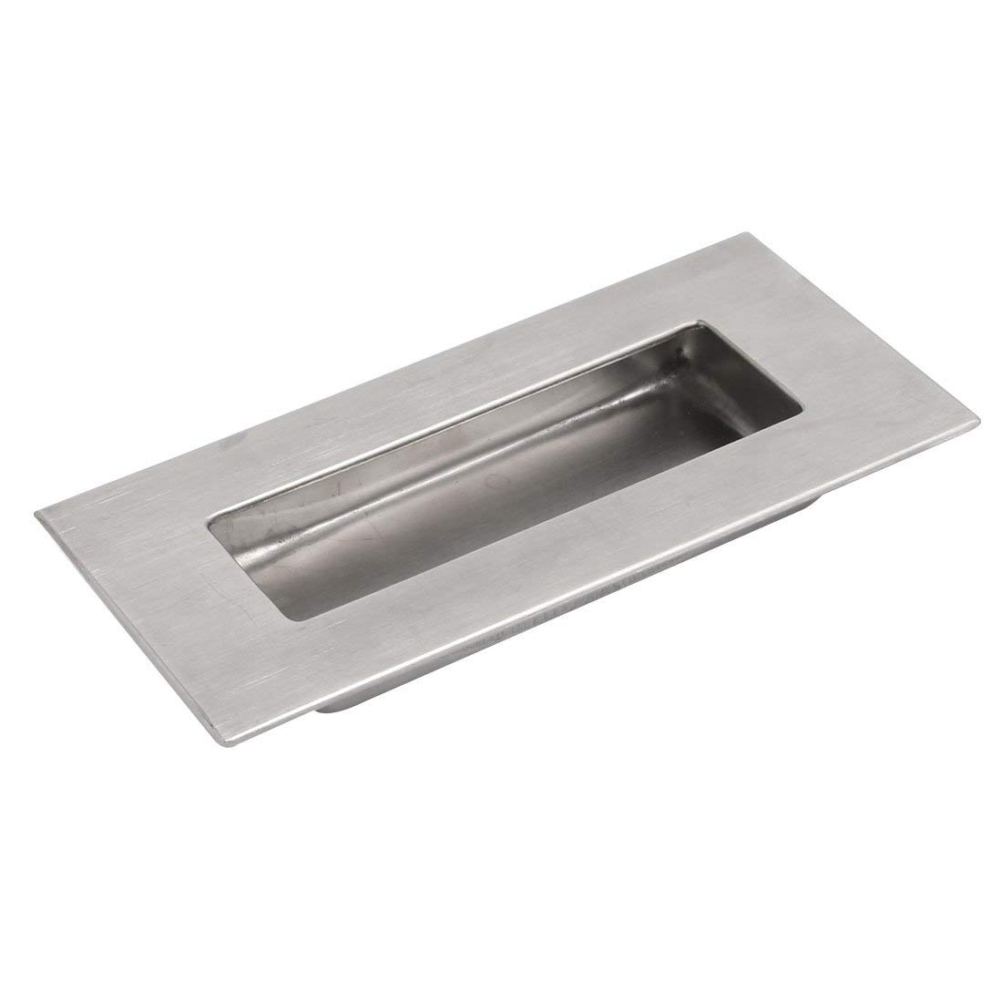 uxcell 120mmx60mm 304 Stainless Steel Recessed Flush Pull Door Handle Silver Tone