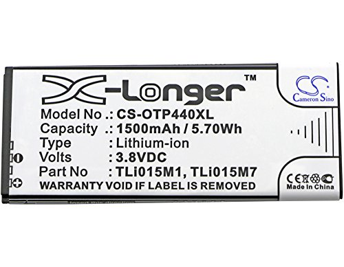 Cameron Sino 1500 mAh Li-ion High-Capacity Replacement Batteries for Alcatel One Touch Pixi 4 4.0, OT-4034, OT-4034D, OT-4034X, fits Alcatel TLi015M1, TLi015M7