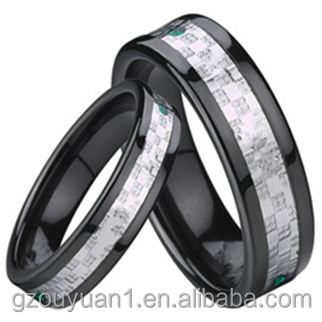 Tungsten Ring, Black Tungsten Ring with Inlays
