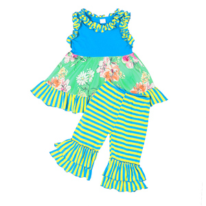 Valentine vintage flower capris girl boutique summer clothing set