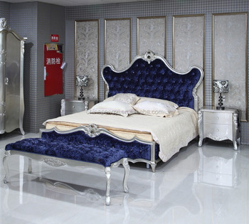 British Imperial Bedroom Furniture Set,New Classical Sleigh Bed,Blue Fabric  Upholstered Sleeping Bed And Night Stand - Buy Royal Furniture Bedroom ...