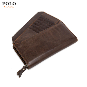 Hot Selling Custom Wholesale Leather Clutch Long Soft Business Money Clip Credit Card Wallet for Men