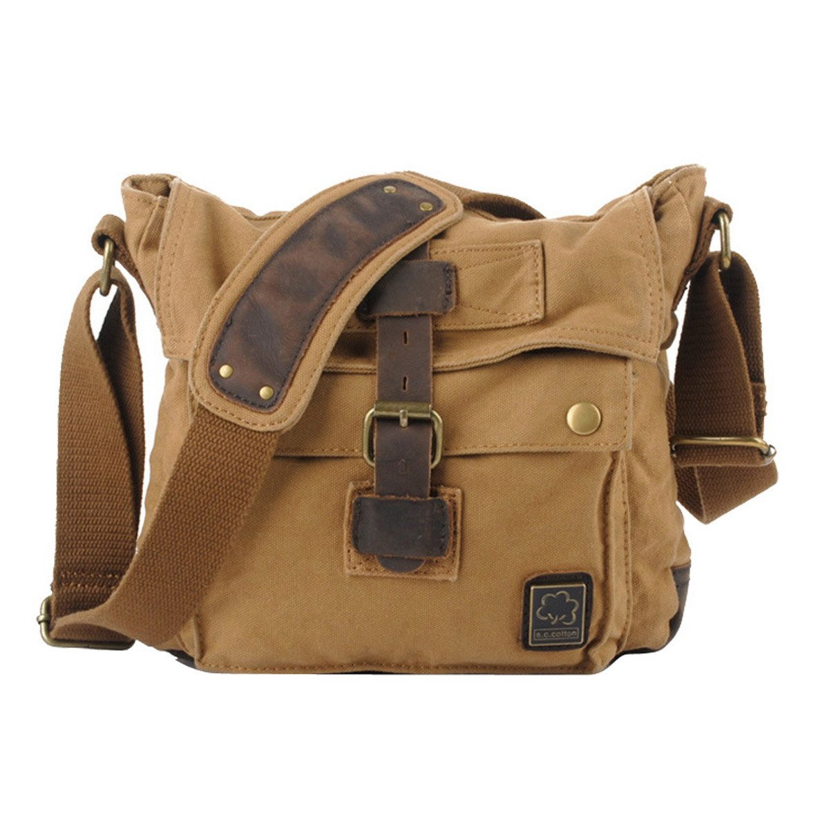 afe4d2fdd9 S.C.Cotton Canvas Fashionable Single Shoulder Messenger Bag Purse with  Durable Strap - Earthy Yellow