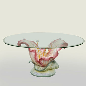 Resin Big Flower With Glass Tabletop Console Table