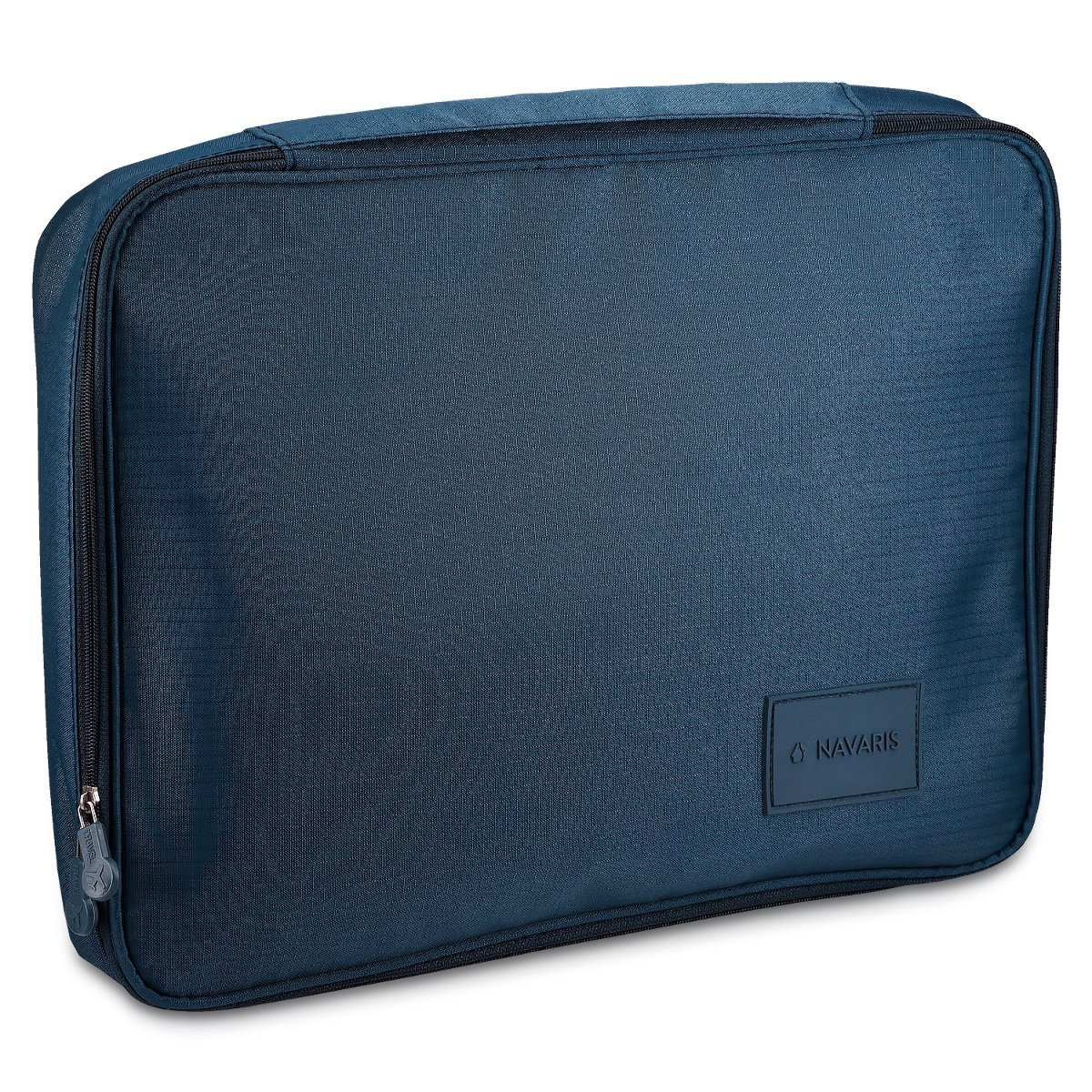 Navaris shirt bag with 2 x folding aids - shirt organiser for crease-free shirts while travelling - ideal for short trips, business trips - dark blue