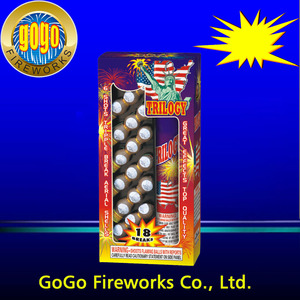 Top quality 6 shots tripple break aerial shells fireworks cheap price artillery shells famous brand gogo fireworks factory made