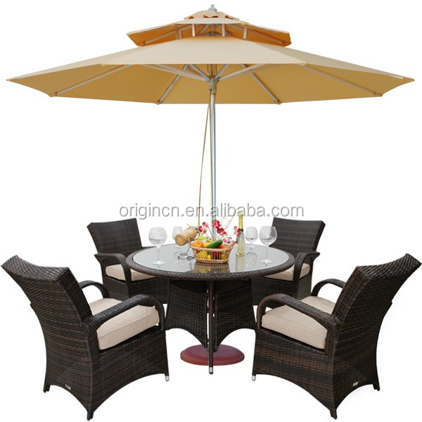 vintage dining table and chair with umbrella hole and round design popularly used restaurant furniture outdoor