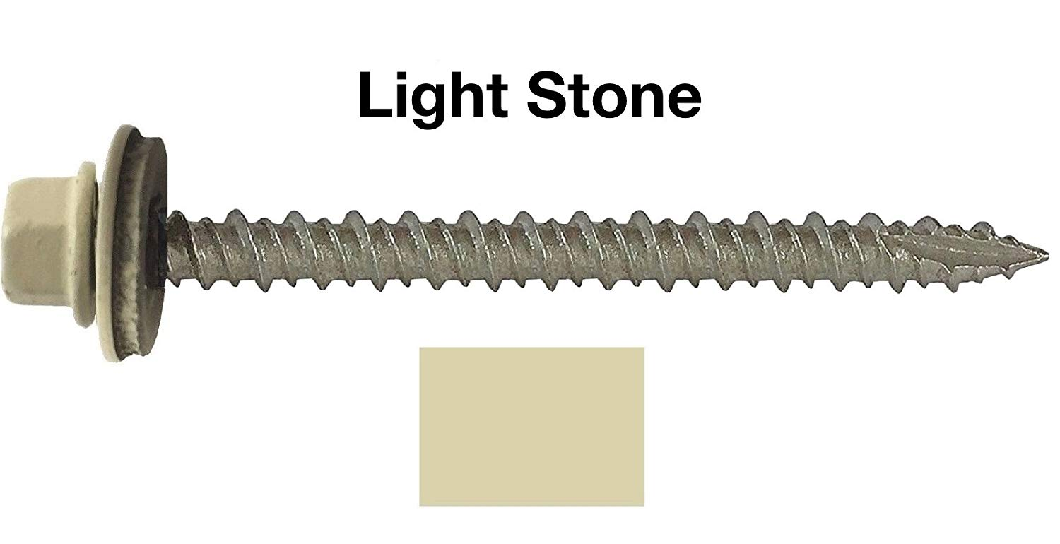 "#10 Metal ROOFING SCREWS: (250) Screws x 3"" LIGHT STONE Hex Head Sheet Metal Roof Screw. Self starting/tapping metal to wood, sheet metal siding screws ~ EPDM washer ~For corrugated roofing"