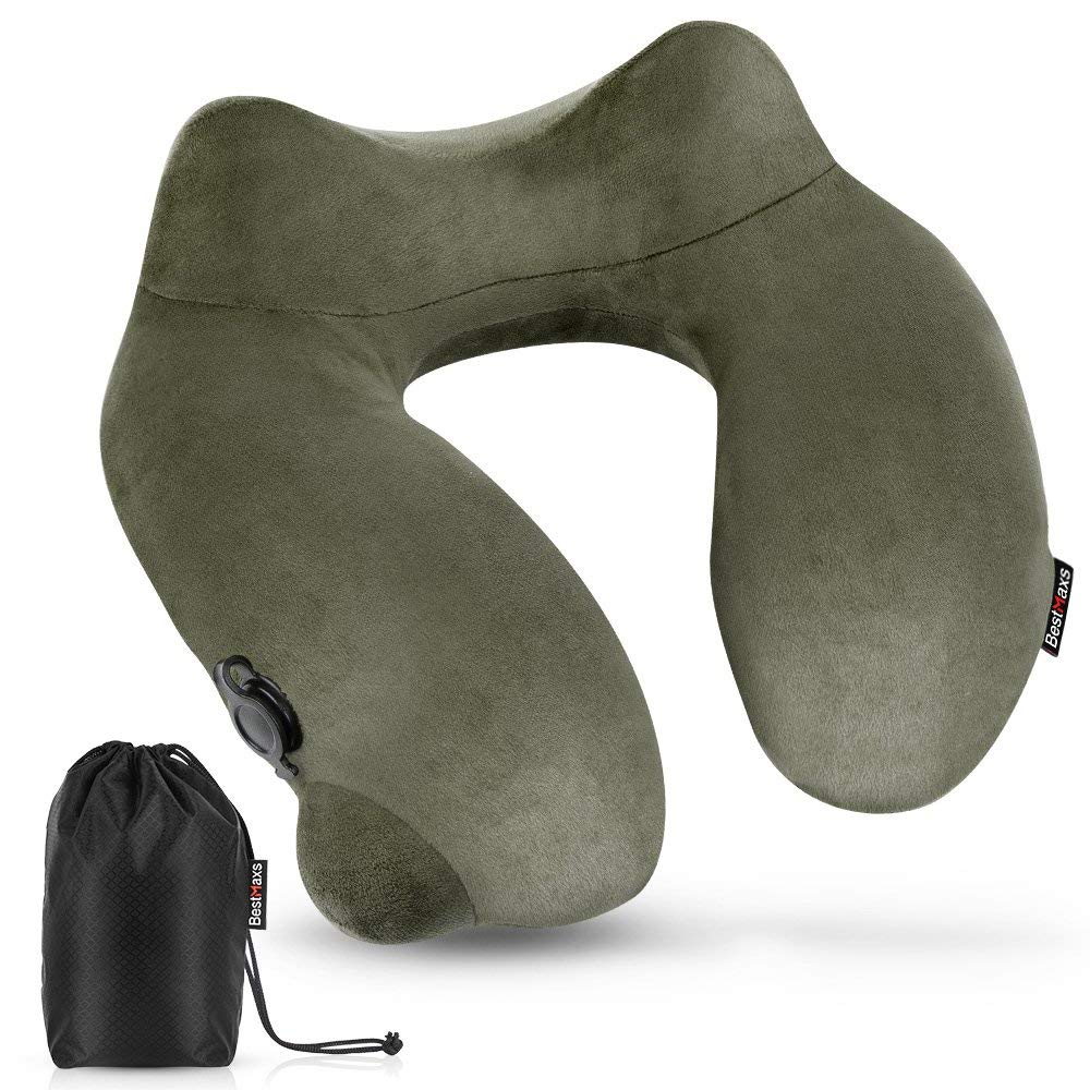 BestMaxs Travel Neck Pillow Soft Comfort Easy Hand-Press Inflatable Sleeping Pillow - Washable Cover - Neck and Head Support for Airplanes with Foldable Bag