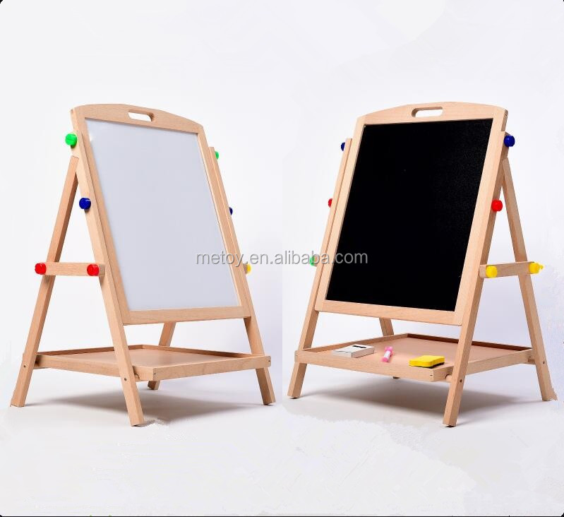 Colorful wooden foldable blackboard with stand