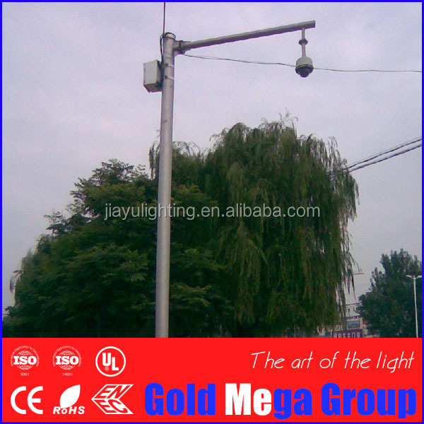 3.5m to 8m security monitoring CCTV camera mounted pole galvanized steel pole