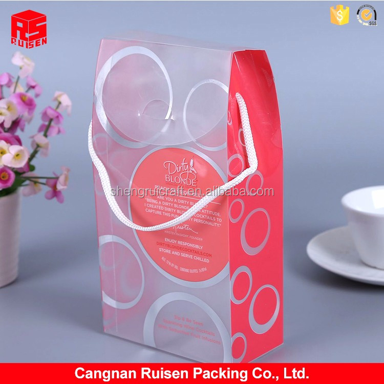 Newest selling comfortable design cartoon cotton rope PVC wine box