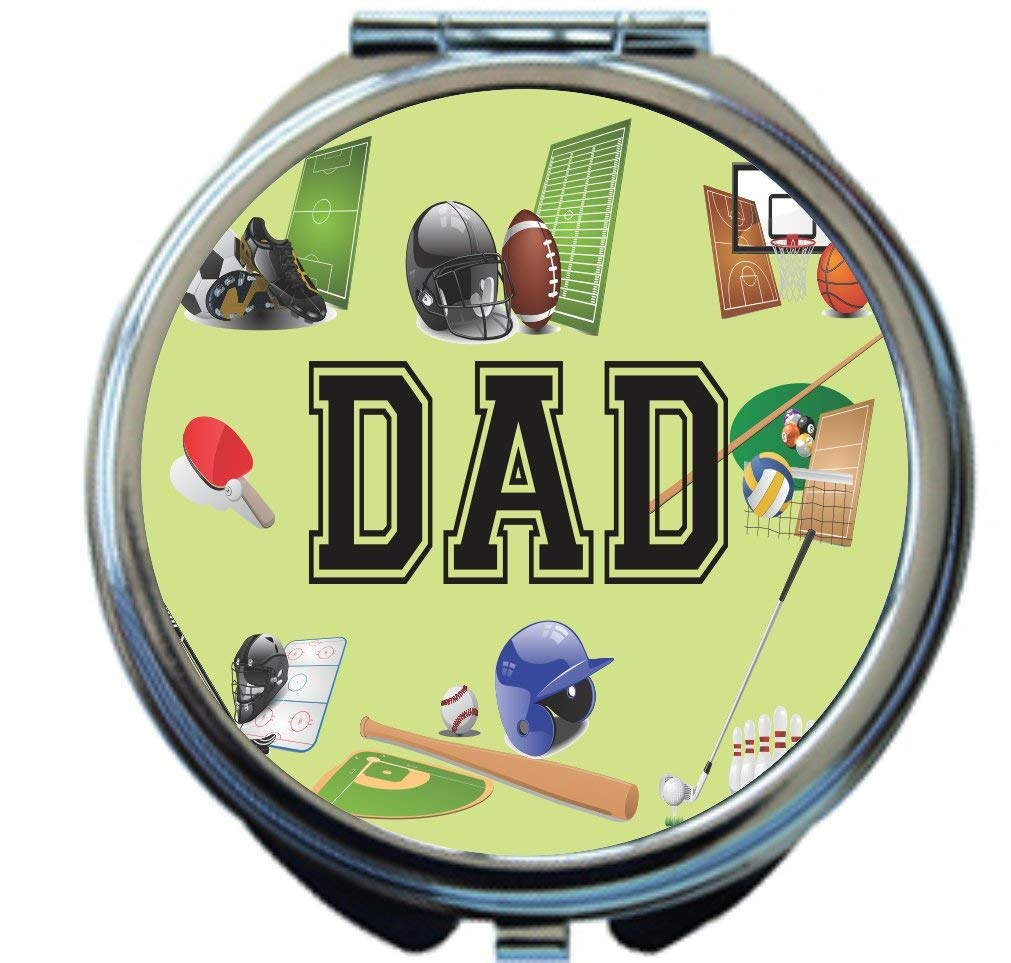 Rikki Knight Dad Sports on Green All Sports Design Round Compact Mirror