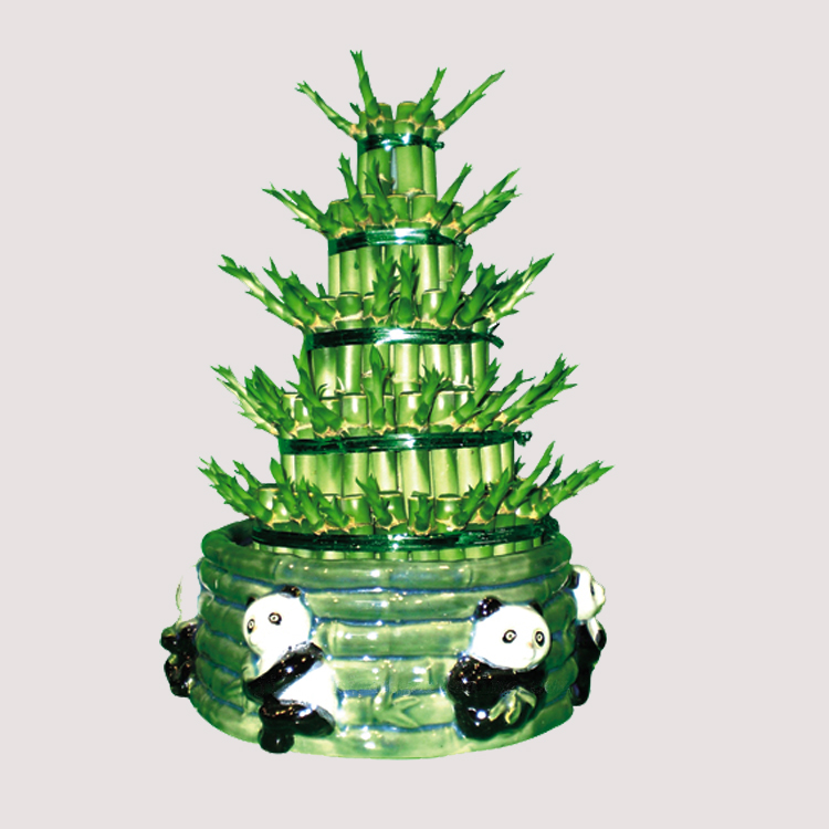 tower eight shape layer tier lucky bamboo crafted ornament bonsai