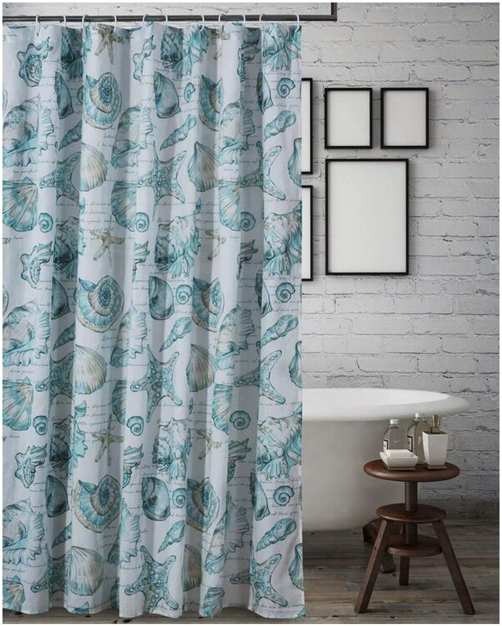 Buy Coastal Beach Fabric Shower Curtain With 12 Seashell