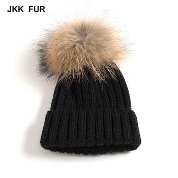 Quick Delivery Natural Fur Cap Winter Warm Fashion Elastic New Real Raccoon Fur Large Pompom Hat