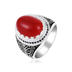 2018 Men's Oval Shape Big Red Agate Stone Rings with small Black Zircon around 925 Sterling Silver Vintage Ring