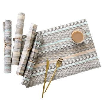China Supplier  Wholesale Japan style Stripe pattern PVC placemat for restaurant