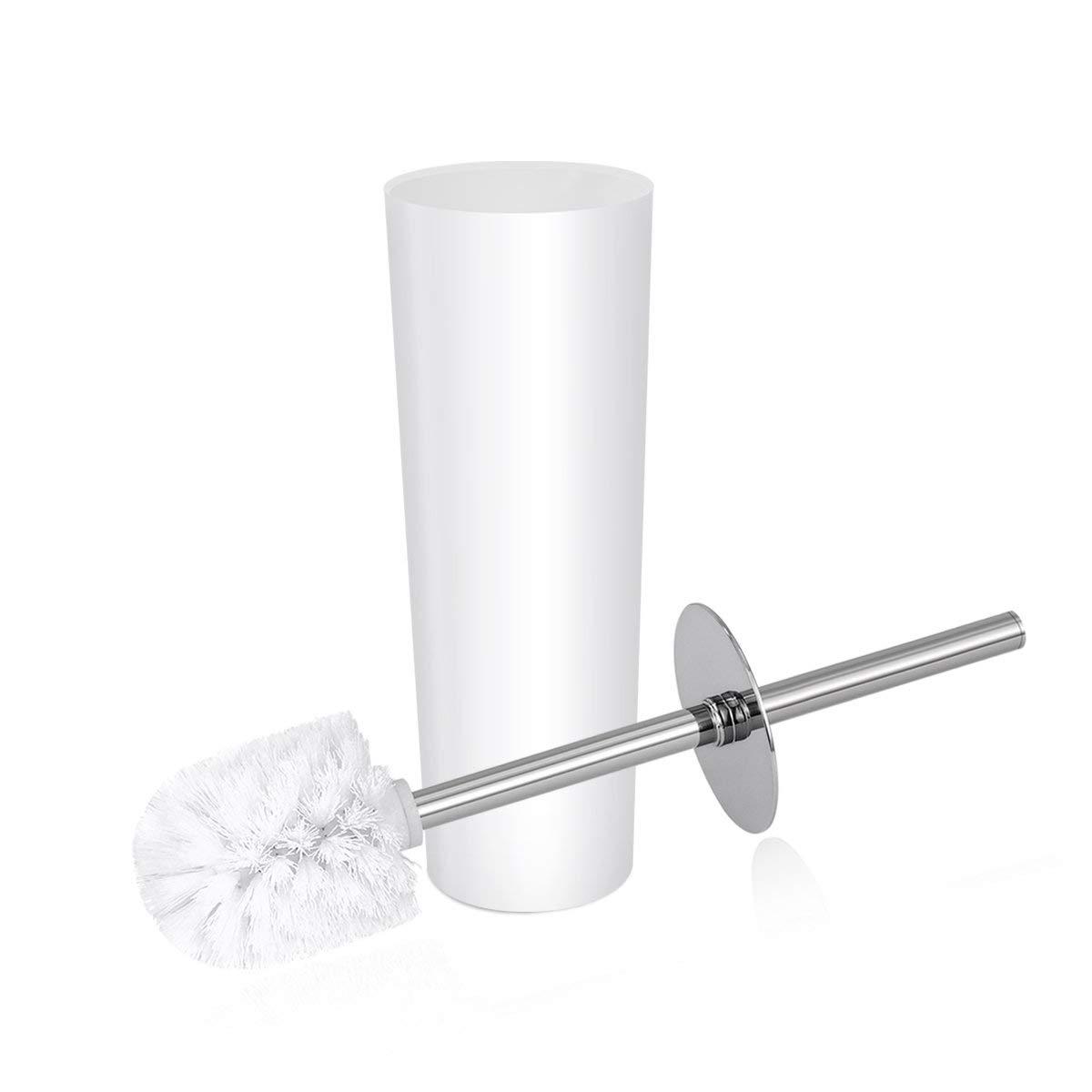 OUNONA Toilet Brush and Holder Set Modern Design Longer Brush and Heavy Enough for Bathroom Toilet (White)
