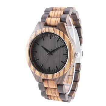 Eco-friendly Ebony/Maple/Carbonized Bamboo Watches Minimalist Wrist Watch Men Casual Simple Wood Stainless steel Buckle