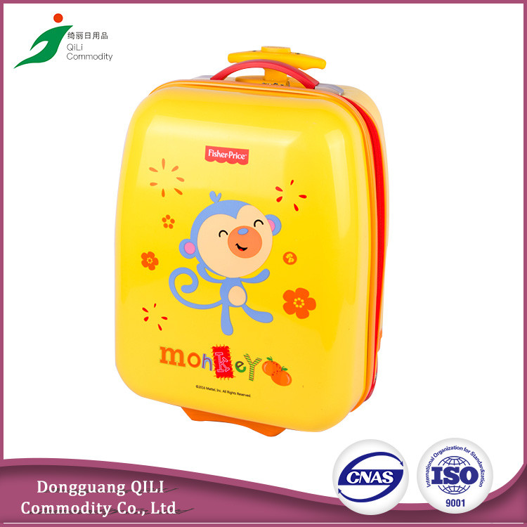 Cute cartoon kids luggage children travel trolley luggage abs pc hard shell kids luggage