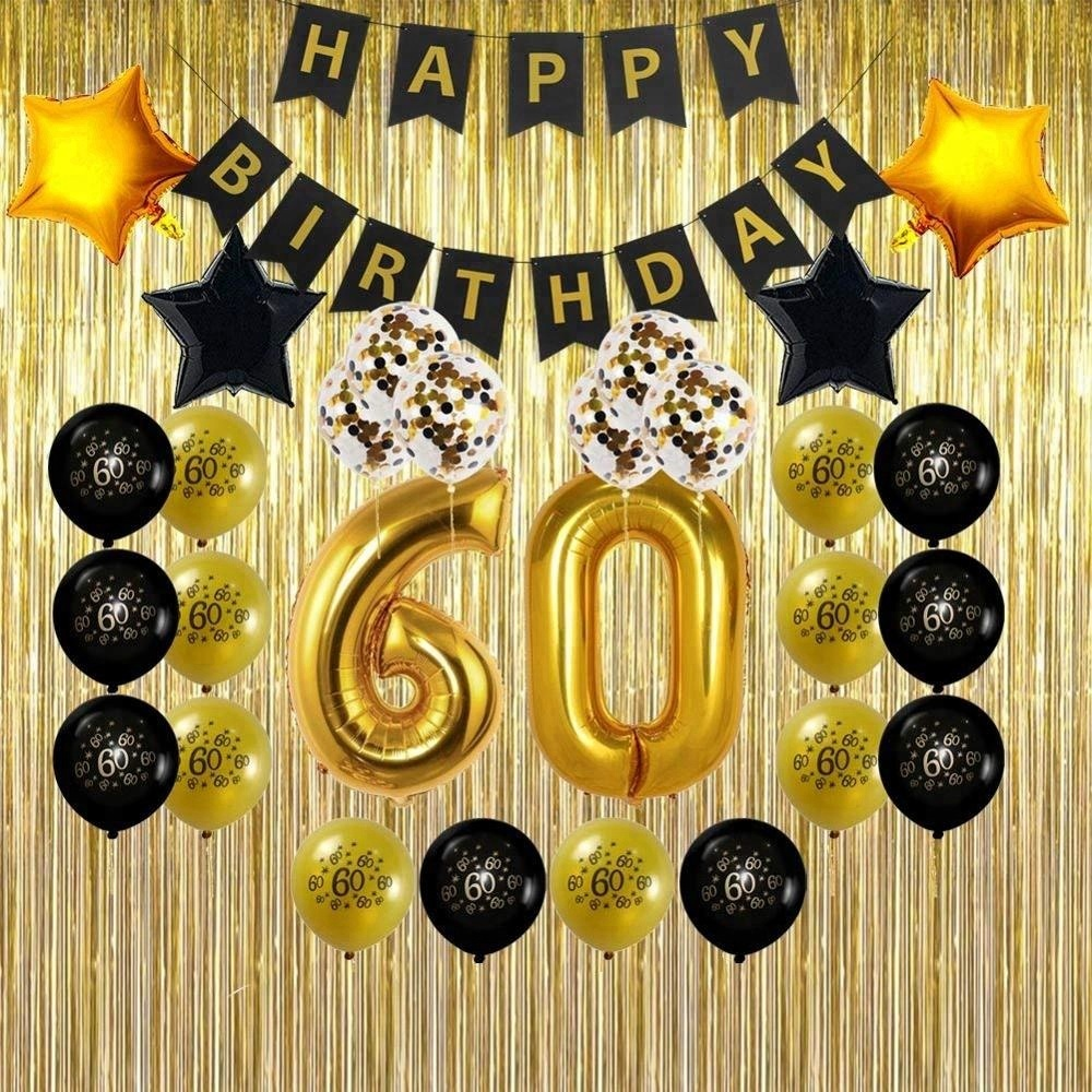 60th Birthday Decorations Gifts For Men Women With Gold Foil Fringe CurtainsHappy BannerNumber And Confetti Balloons
