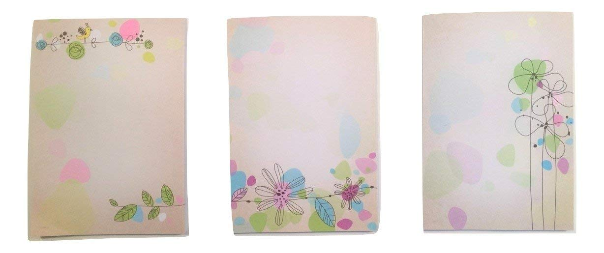 "Nature Themed Brown Kraft Note Pads ~ Set of 3 (Gold Finch, Blue and Violet Floral Vine, Flowers Standing Tall; 4"" x 6""; 40 Sheets Per Pad)"