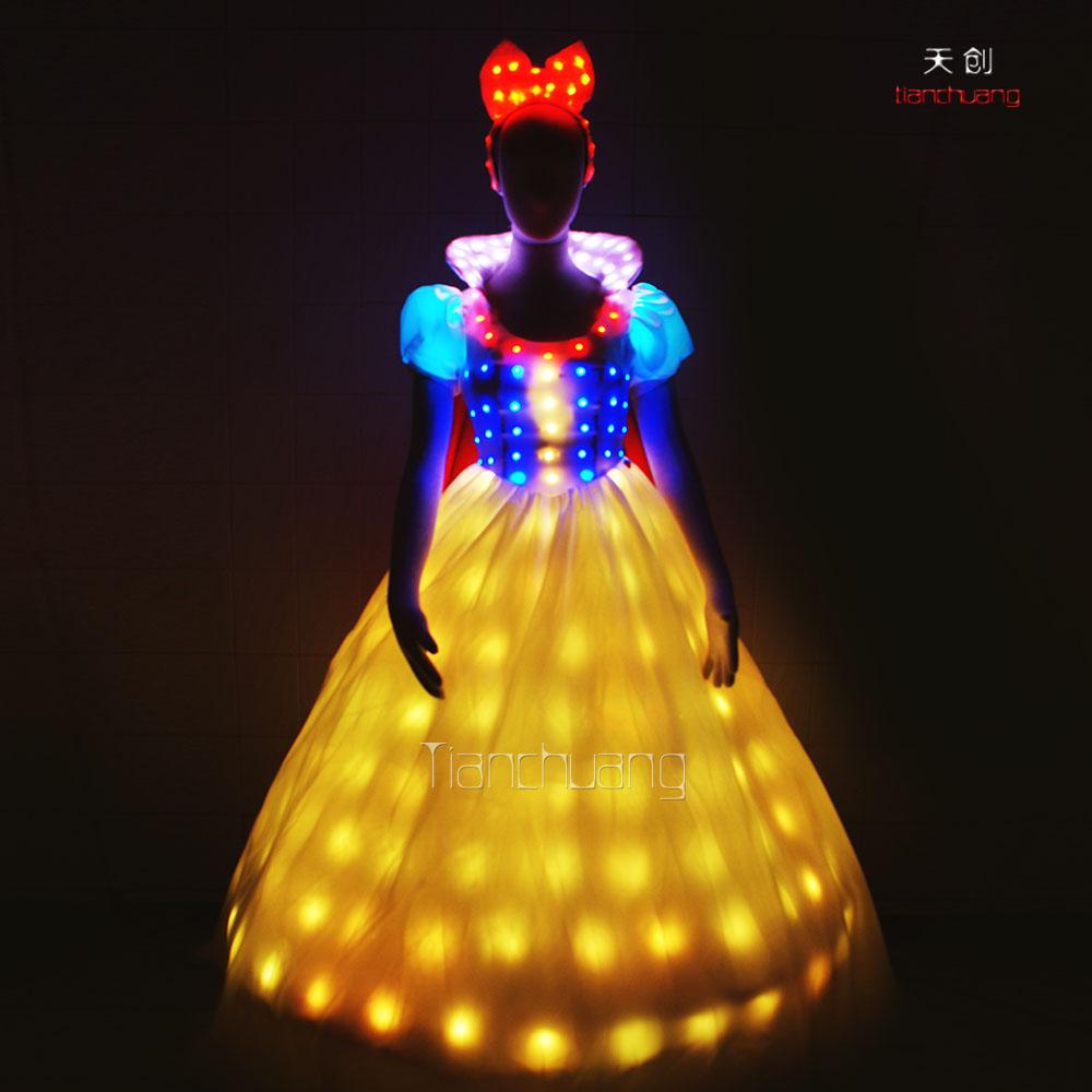 Unique Party Dress Luminous Led Lights Glowing Wedding: Wedding Dress With Led Lights At Websimilar.org