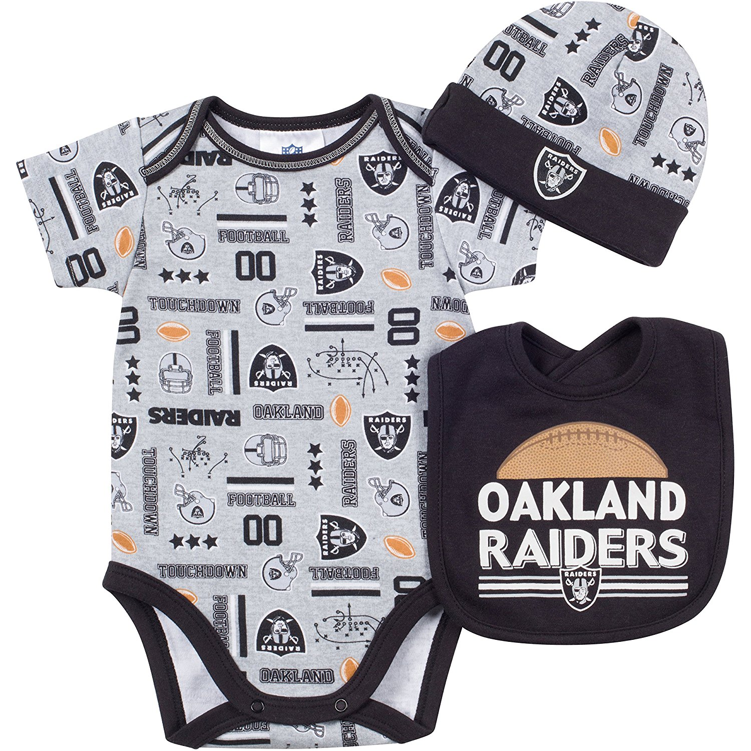 fb844596f Get Quotations · NFL Oakland Raiders Bodysuit, Bib & Cap Set (3 Piece), 0-
