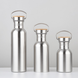 Stainless Steel Thermos Single Wall Vacuum Insulated Water Bottles Flask Mug Cup Tumbler Bottle With Bamboo Wooden Lid