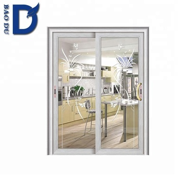 2018alibaba New Model Kitchen Cabinet Aluminum Frame Gl Door Curtains To Fly Chain