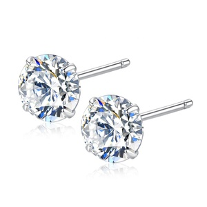 CZCITY Cubic Zirconia Fashion Earrings Leisure Four Claws 3mm/ 4mm/ 5mm/ 6mm Main Zircon Stone 925 Silver Ear Stud