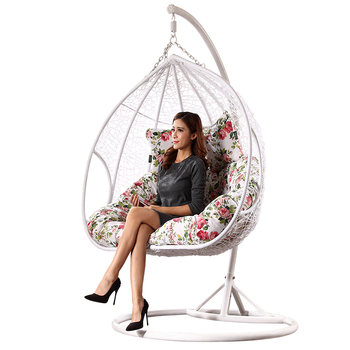 Balcony Double Two Seat Wicker Rattan Hanging Egg Chair
