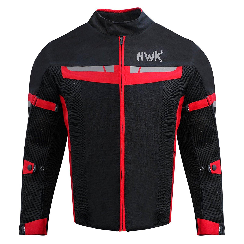 HWK Motorsports Direct Mesh Motorcycle Jacket Coat Motorbike Jacket Biker Cordura Waterproof CE Armoured Breathable 100% Waterproof Reissa Membrane 1 YEAR WARRANTY!! (Medium, Red)