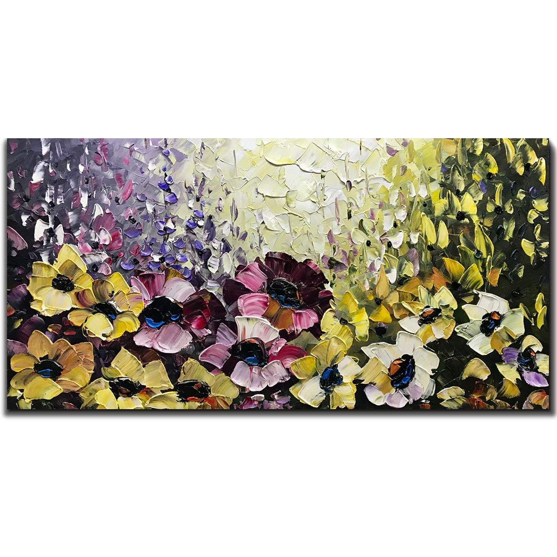 Yotree Paintings, 24x48 Inch Paintings Colorful Flowers Oil Hand Painting Painting 3D Hand-Painted On Canvas Abstract Artwork Art Wood Inside Framed Hanging Wall Decoration Abstract Painting
