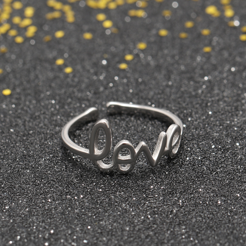 fashion jewelry silver alphabetic opening ring with cubic zircon stone