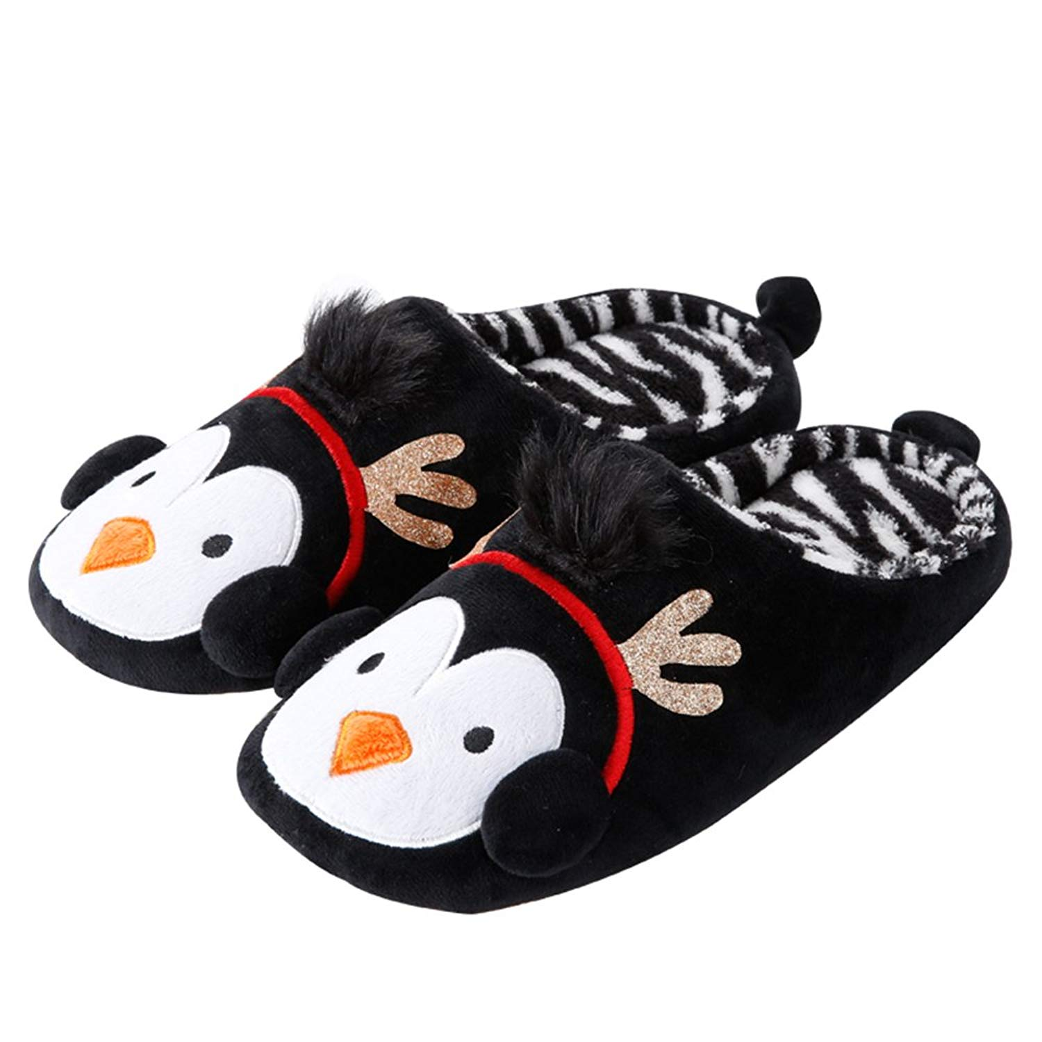 7f2c5a0cdca56 Get Quotations · Colias Wing Christmas Series Cuddly Cartoon Animal Penguin  Pattern Design Winter Soft Cozy Warm Slippers Anti