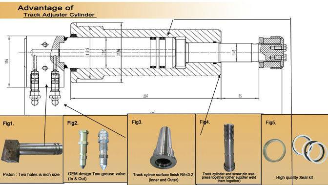 हवाई जहाज के पहिये भागों/ट्रैक समायोजक/हटना वसंत/सिलेंडर CAT312C