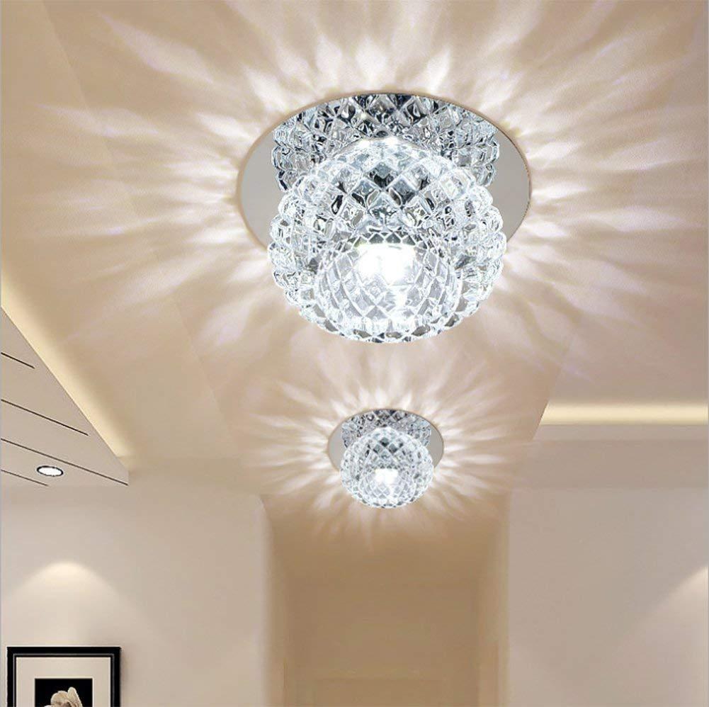 Ginamart Modern Crystal 5W LED Ceiling Light Fixture 85-265V Flush Mount Aisle/Corridor/Porch Light Pendant Lamp Lighting Chandelier (Cool White)